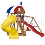 Детская площадка для дачи Finn-Wood 3 со скалодромом и спиральной горкой трубой